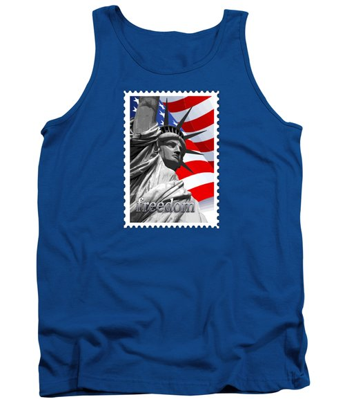 Graphic Statue Of Liberty With American Flag Text Freedom Tank Top by Elaine Plesser