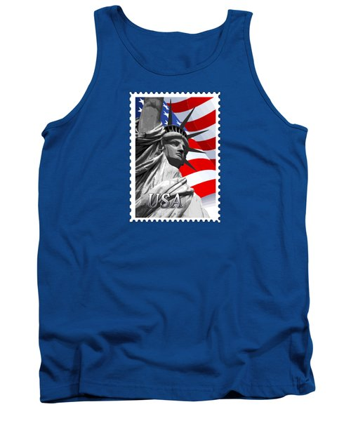 Graphic Statue Of Liberty With American Flag Text Usa Tank Top by Elaine Plesser