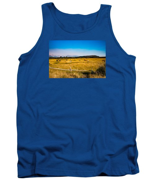 Tank Top featuring the photograph Grazing Horses by Cathy Donohoue