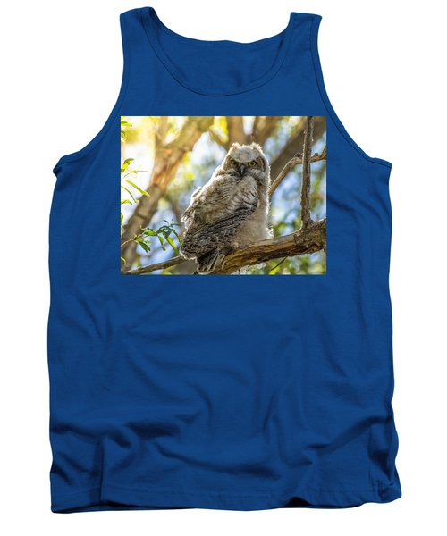 Great-horned Owlet In Spring Tank Top by Yeates Photography