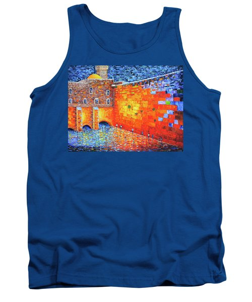 Tank Top featuring the painting Wailing Wall Greatness In The Evening Jerusalem Palette Knife Painting by Georgeta Blanaru