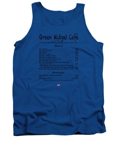 Green Midget Cafe Menu T-shirt Black Letters Tank Top by Robert J Sadler