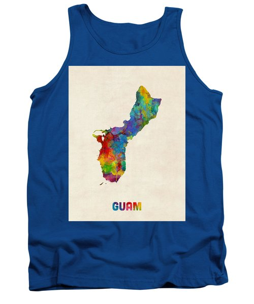 Guam Watercolor Map Tank Top