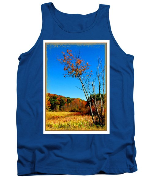 Tank Top featuring the photograph Hanging On To Autumn by Joan  Minchak