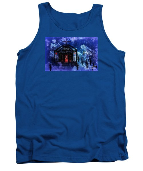 Tank Top featuring the digital art Happy Holiday Little Chapel On The Hill by Sherri  Of Palm Springs