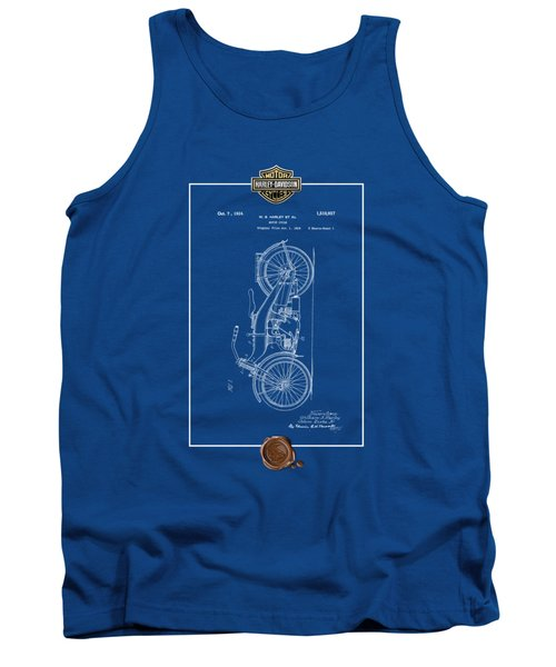 Tank Top featuring the digital art Harley-davidson 1924 Vintage Patent Blueprint With 3d Badge by Serge Averbukh