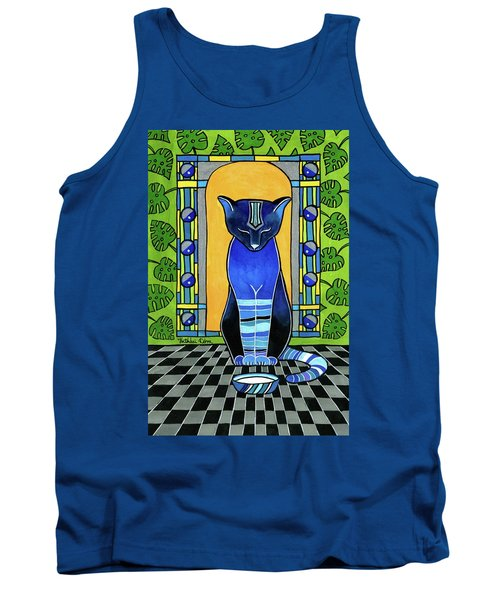 Tank Top featuring the painting He Is Back - Blue Cat Art by Dora Hathazi Mendes