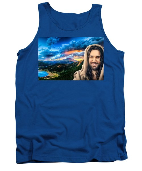 Tank Top featuring the digital art He Watches Over Me by Karen Showell