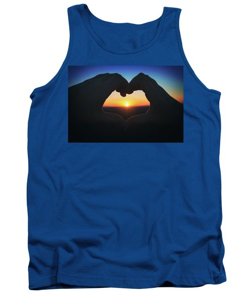 Tank Top featuring the photograph Heart Shaped Hand Silhouette - Sunset At Lapham Peak - Wisconsin by Jennifer Rondinelli Reilly - Fine Art Photography