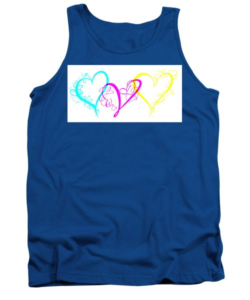 Hearts On White Tank Top