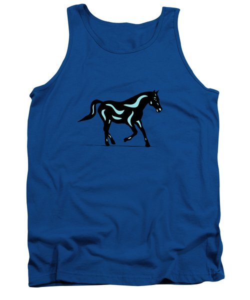 Heinrich - Pop Art Horse - Black, Island Paradise Blue, Greenery Tank Top