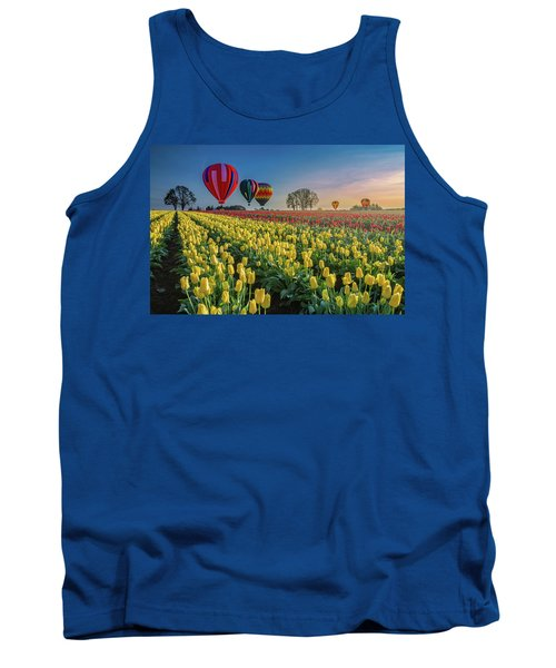 Hot Air Balloons Over Tulip Fields Tank Top by William Lee