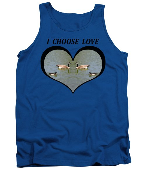 I Chose Love With A Spoonbill Duck And Geese On A Pond In A Heart Tank Top by Julia L Wright