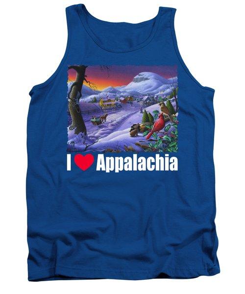 I Love Appalachia T Shirt - Small Town Winter Landscape 2 - Cardinals Tank Top