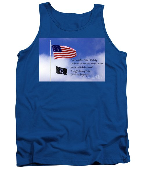 Tank Top featuring the photograph I Will Not Forget You American Flag Pow Mia Flag Art by Reid Callaway