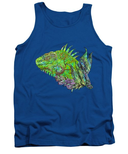 Tank Top featuring the mixed media Iguana Cool by Carol Cavalaris