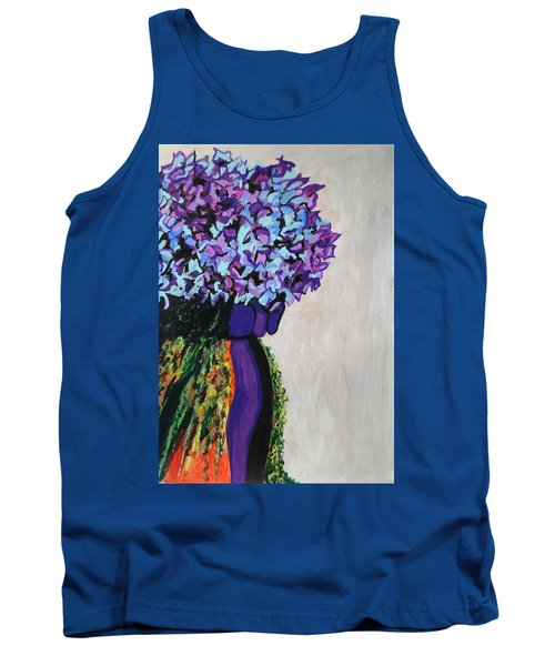 Indigo Flowers For Ma Tank Top by Esther Newman-Cohen
