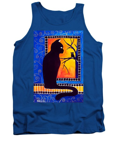 Tank Top featuring the painting Insomnia - Cat And Owl Art By Dora Hathazi Mendes by Dora Hathazi Mendes