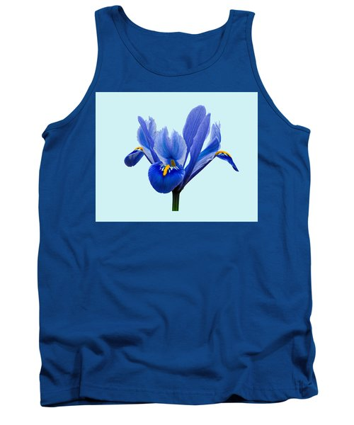 Tank Top featuring the photograph Iris Reticulata Blue Background by Paul Gulliver