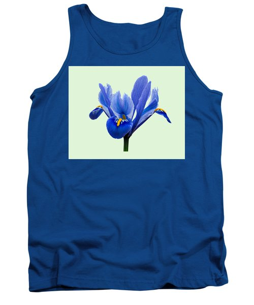 Tank Top featuring the photograph Iris Reticulata, Green Background by Paul Gulliver