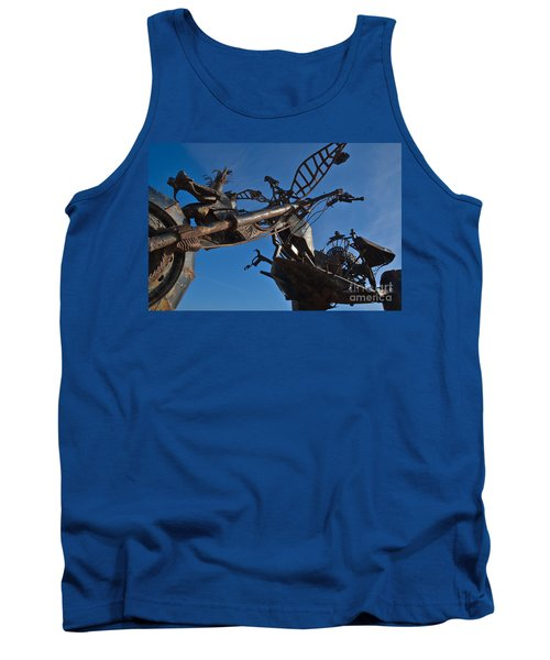 Iron Motorcycle Sculpture In Faro Tank Top by Angelo DeVal