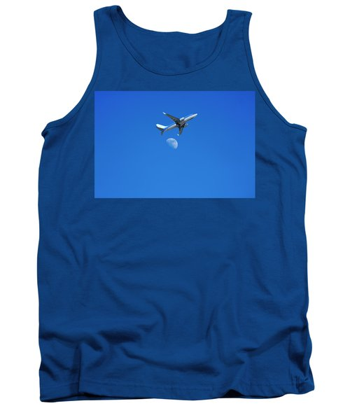 Jet Plane Flying Over The Moon Tank Top