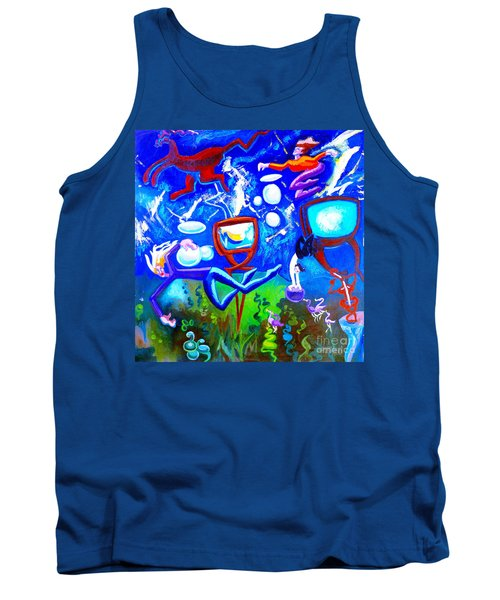 Tank Top featuring the painting Jumping Through Tv Land by Genevieve Esson