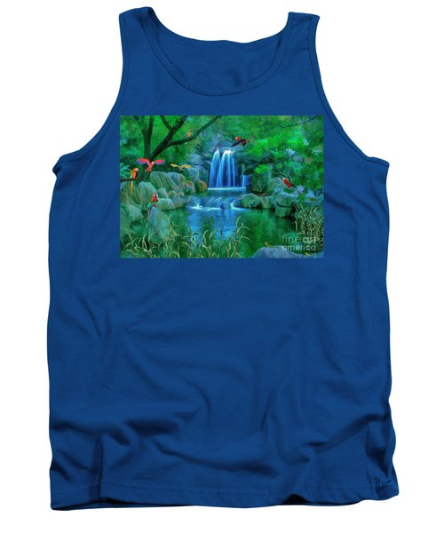Jungle Water Falls And Parrots Tank Top