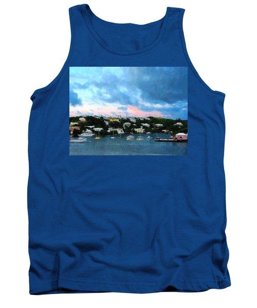 Tank Top featuring the photograph King's Wharf Bermuda Harbor Sunrise by Susan Savad