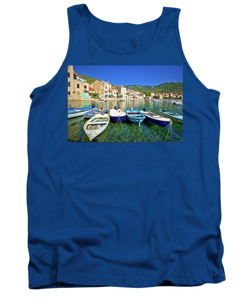 Komiza On Vis Island Turquoise Waterfront Tank Top by Brch Photography