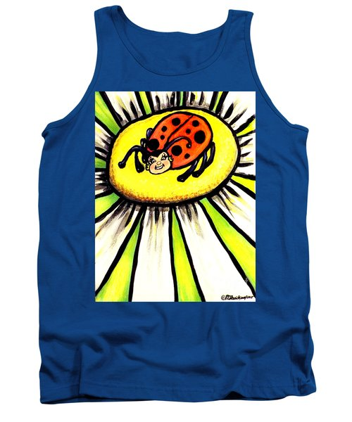 Tank Top featuring the painting Ladybug On A Flower by Patricia L Davidson