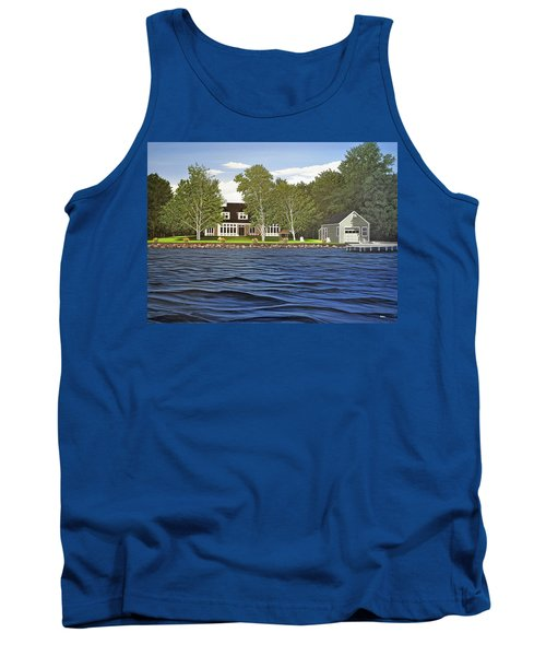 Tank Top featuring the painting Langer Summer Home Lake Simcoe by Kenneth M Kirsch