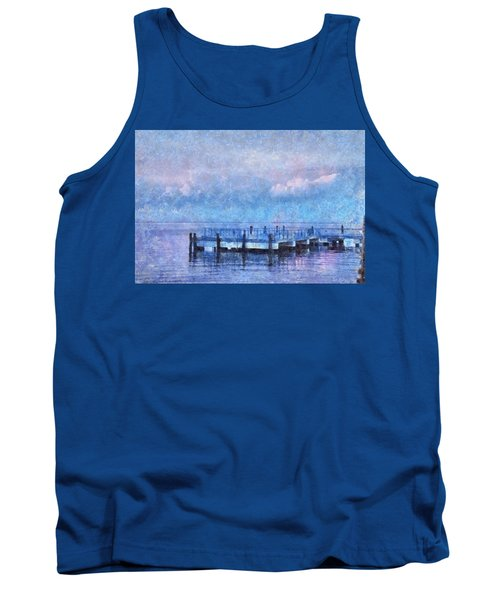 Tank Top featuring the mixed media Lewes Pier by Trish Tritz