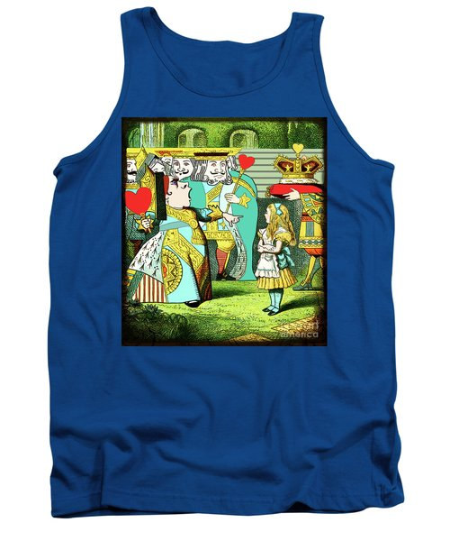 Lewis Carrolls Alice, Red Queen And Cards Tank Top by Marian Cates