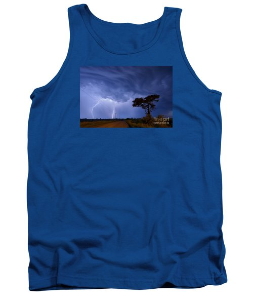 Lightning Storm On A Lonely Country Road Tank Top by Art Whitton