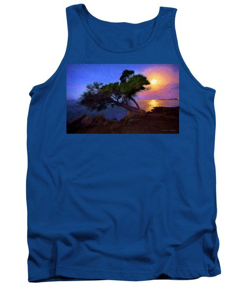 Lone Tree On Pacific Coast Highway At Moonset Tank Top