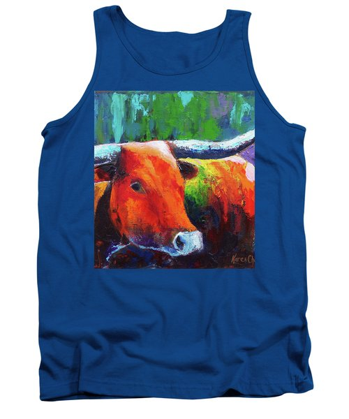 Tank Top featuring the painting Longhorn Jewel by Karen Kennedy Chatham