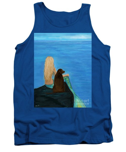 Tank Top featuring the painting Loving Lab Loyalty by Leslie Allen