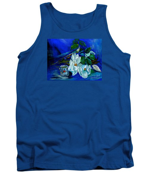 Magnolias And Cream Tank Top by Jenny Lee