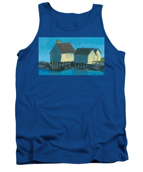 Maine Beach Fishing Shacks Tank Top