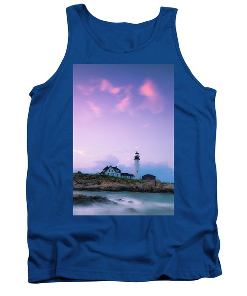 Maine Portland Headlight Lighthouse In Blue Hour Tank Top