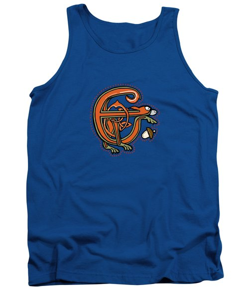 Medieval Squirrel Letter E Tank Top by Donna Huntriss