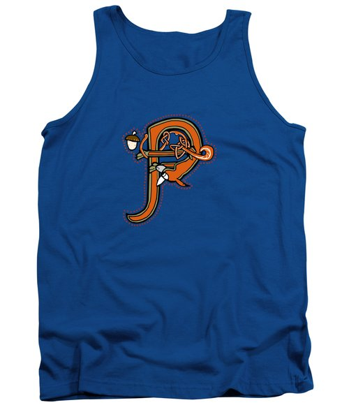 Medieval Squirrel Letter P Tank Top by Donna Huntriss