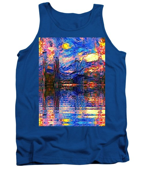 Tank Top featuring the painting Midnight Oasis by Holly Martinson