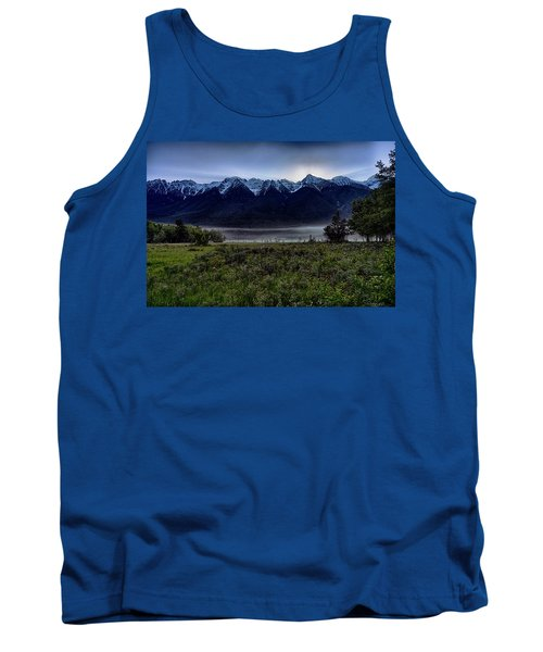 Tank Top featuring the photograph Misty Mountain Morning Meadow  by Darcy Michaelchuk