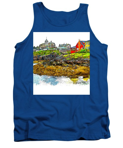 Tank Top featuring the photograph Monhegan West Shore by Tom Cameron