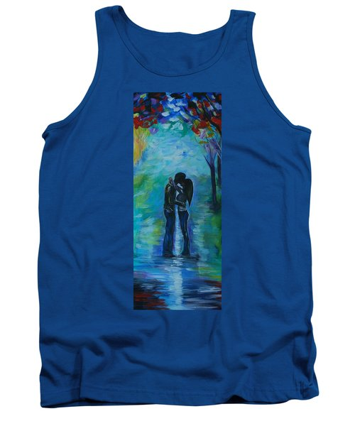 Tank Top featuring the painting Moonlight Kiss Series 1 by Leslie Allen