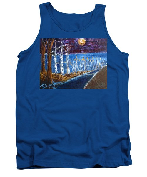 Moonlight On Path To Beach Tank Top by Betty Pieper