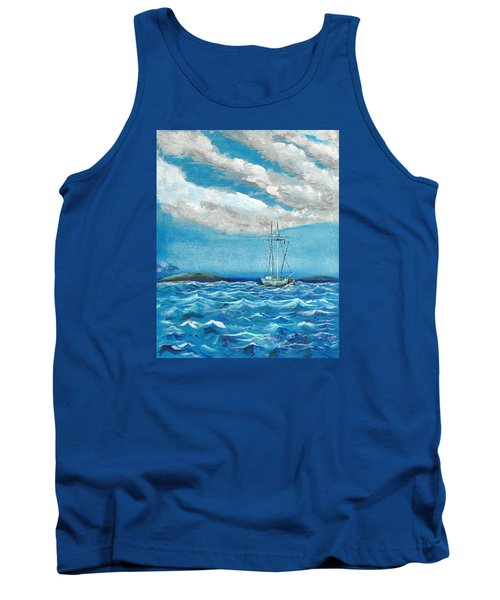 Tank Top featuring the painting Moored In The Bay by J R Seymour