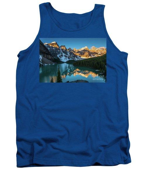 Moraine Lake Golden Alpenglow Reflection Tank Top
